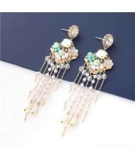 Korean Jewelry Wholesale Acrylic Pearl Tassel Flower Design Bohemian Women Dangle Earrings - Green