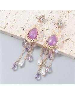 Vintage Jewelry Wholesale Flowers Artificial Pearl Tassel Design Opal Women Earrings - Purple