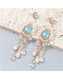 Vintage Jewelry Wholesale Flowers Artificial Pearl Tassel Design Opal Women Earrings - Green