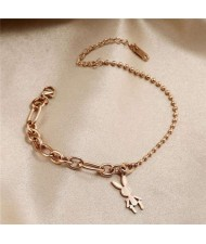 Wholesale Stainless Steel Jewelry Cartoon Rabbit Pendant Fashion Chain Women Bracelet - Rose Gold