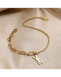 Wholesale Stainless Steel Jewelry Cartoon Rabbit Pendant Fashion Chain Women Bracelet - Golden