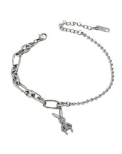 Wholesale Stainless Steel Jewelry Cartoon Rabbit Pendant Fashion Chain Women Bracelet - Silver