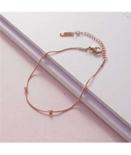 Korean Minimalist Design Beads Chain Women Fashion Stainless Steel Bracelet - Rose Gold