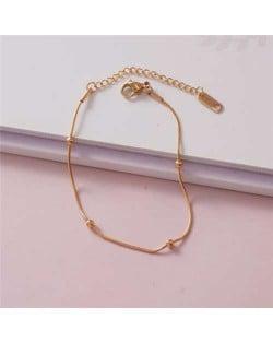 Korean Minimalist Design Beads Chain Women Fashion Stainless Steel Bracelet - Golden