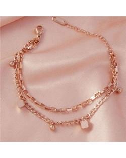 Korean Minimalist Design Wholesale Stainless Steel Jewelry Dual Layers Square Pendants Bracelet - Rose Gold