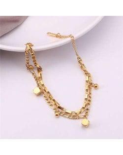 Korean Minimalist Design Wholesale Stainless Steel Jewelry Dual Layers Square Pendants Bracelet - Golden