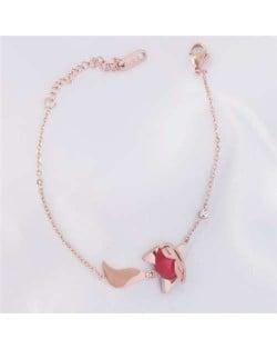 Internet Celebrity Choice Cute Fox Pendant 18K Gold Plated Wholesale Fine Jewelry Stainless Steel Bracelet