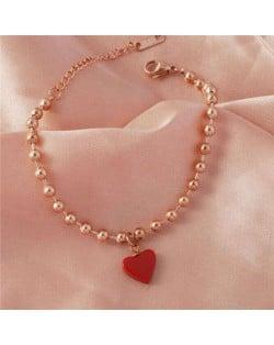 Red Heart Pendant Beads Chain Wholesale Stainless Steel Jewelry Women Bracelet