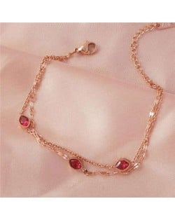 Dual Layers Chain Red Gems Embellished Minimalist Design Wholesale Stainless Steel Bracelet