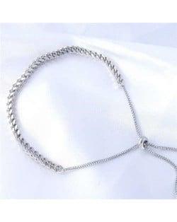Wholesale Stainless Steel Jewelry Twist Chain Minimalist Design Hip-hop Style Charming Bracelet
