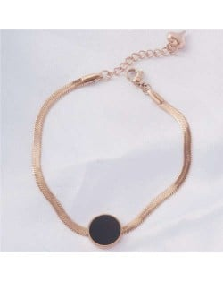 Street Fashion Black Round Dot Pendant Snake Chain Personality Wholesale Stainless Steel Bracelet