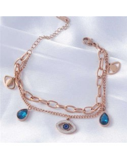 Dual Layers Charming Eye and Teardrop Pendants Korean High Fashion Wholesale Stainless Steel Bracelet