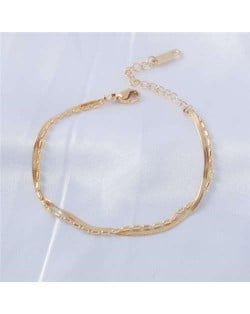 Chic Style Dual Layers Alloy Chain Minimalist Fashion Stainless Steel Jewelry Bracelet