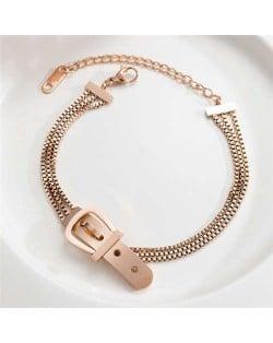 Korean Fashion Cool Belt Buckle Unique Design Wholesale Stainless Steel Jewelry Women Bracelet
