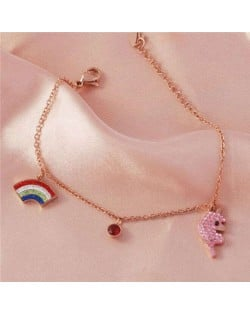 Sweet Style Cute Rainbow and Pink Animal Combo Wholesale Stainless Steel Jewelry Women Brecelet