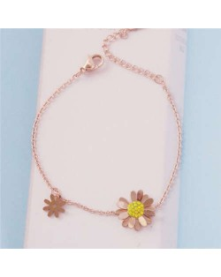 Korean Vintage Style Daisy Decorated Chain Wholesale Stainless Steel Jewelry Wholesale Bracelet