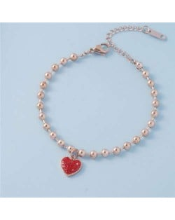 Shining Rhinestone Romantic Heart Pendant Beads Chain Wholesale Stainless Steel Brecelet