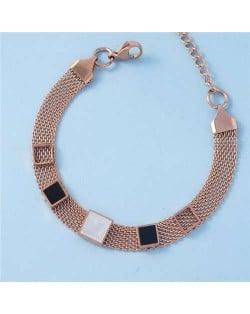 Minimalist Design Contrast Colors Square Shape Embellished Street Popolar Fashion Stainless Steel Bracelet