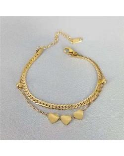Hearts Pendants Dual Layers Hip-hop Chain Design Stainless Steel Bracelet