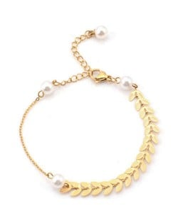 Baroque Style Fashion Stainless Steel Jewelry Wheat Ears Pearls Inlaid Elegant Wholesale Bracelet