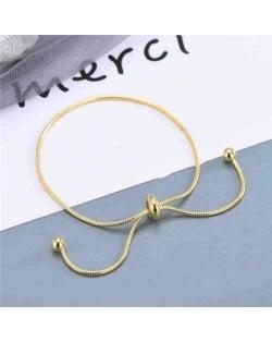 Korean Fashion Minimalist Design Snake Chain Round Beads Decorated Wholesale Stainless Steel Bracelet - Golden