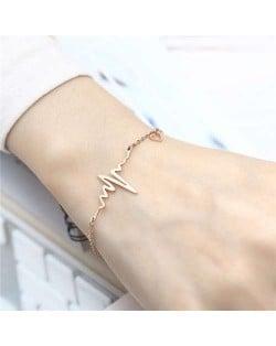 Wholesale Stainless Steel Jewelry Korean Minimalist Style Heartbeat Design Romantic Bracelet