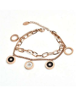 Hip-hop Style Round Pendants Dual Layers Chain Wholesale Stainless Steel Jewelry Women Statement Bracelet - Golden