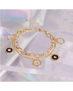 Hip-hop Style Round Pendants Dual Layers Chain Wholesale Stainless Steel Jewelry Women Statement Bracelet - Silver
