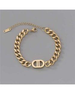 Unique Oval Shape Minimalist Design Punk Style Fashion Wholesale Stainless Steel Jewelry Women Bracelet - Golden