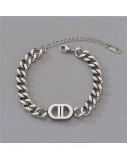 Unique Oval Shape Minimalist Design Punk Style Fashion Wholesale Stainless Steel Jewelry Women Bracelet - Silver