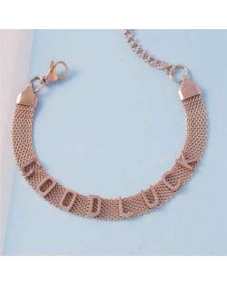 Goodluck Alphabets Design Wholesale Stainless Steel Jewelry Flat Shape Bracelet - Rose Gold