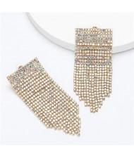 Shining Rhinestone Tassel Chain Wholesale Jewelry Fashion Women Alloy Earrings - Golden