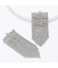 Shining Rhinestone Tassel Chain Wholesale Jewelry Fashion Women Alloy Earrings - Silver