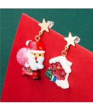 Christmas Jewelry Wholesale Santa Claus with Snow House Classic Combo Fashion Women Costume Earrings