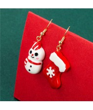 Cute Snowman with Christmas Socks Asymmetric Design Wholesale Alloy Fashion Earrings