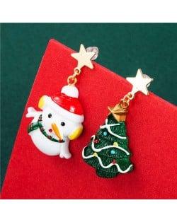 Carrot Nose Snowman and Christmas Tree Unique Design High Fashion Asymmetric Women Earrings