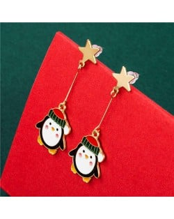 Golden Star with Cute Penguin Modeling Pendant Wholesale Christmas Jewelry High Fashion Drop Earrings