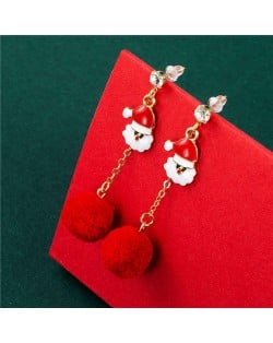 Oil-Spot Glazed Santa Claus and Fluffy Ball Combo Wholesale Christmas Jewelry Dangle Earrings