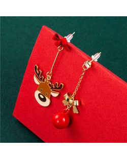 Cute Deer and Bow-knot Embellished Bell Pendant Minimalist Design Christmas Jewelry Wholesale Dangle Earrings