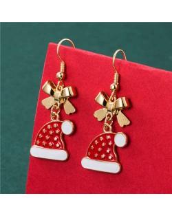 Golden Stars Inlaid Gorgeous Christmas Hat Bow-knot Fashion Women Elegant Wholesale Earrings