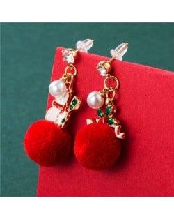 Wholesale Christmas Jewelry Stylish Fluffy Ball Shape Design With Cute Sonwman Combo Women Statement Earrings