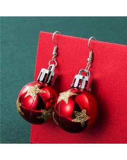 Creative Shining Star Design Big Christmas Bulb Fashion Wholesale Earrings - Red