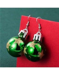 Creative Shining Star Design Big Christmas Bulb Fashion Wholesale Earrings - Green