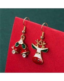 Bells and Abstract Design Cute Deer Women Statement Christmas Wholesale Earrrings