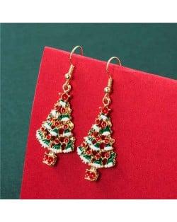 Fine Decorated Christmas Trees Design High Fashion Women Oil-Spot Glazed Hook Wholesale Earrings