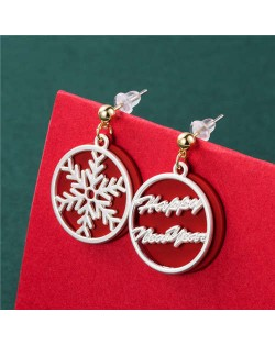 Wholesale Christmas Jewelry Round Snowflower Design Women Fashion Costume Earrings