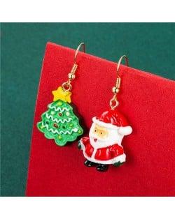 Cute Santa Claus and Christmas Tree Combo Asymmetric Women Fish Hook Wholesale Earrings