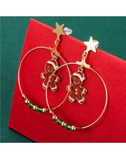 Round Colorful Beads Decorated Red Snowmen Pendant Christmas Jewelry Wholesale Women Big Hoop Earrings