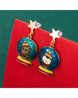 Adorable Penguin and Bear Combo Christmas Fashion Costume Women Wholesale Asymmetric Earrings