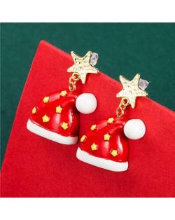 Wholesale Jewelry Golden Stars Embellished Red Christmas Hat Women Earrings